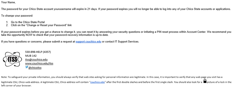 csu chico portal Upcoming Password Expiration | IT Support Services (CSU, Chico)
